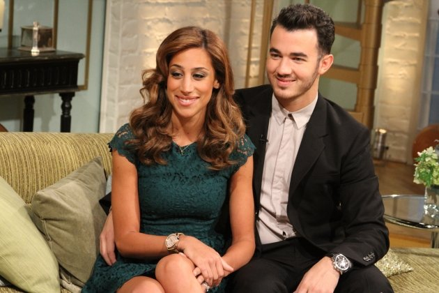 Kevin Jonas and his wife, Danielle Jonas, stop by Access Hollywood Live on August 16, 2012 -- Access Hollywood