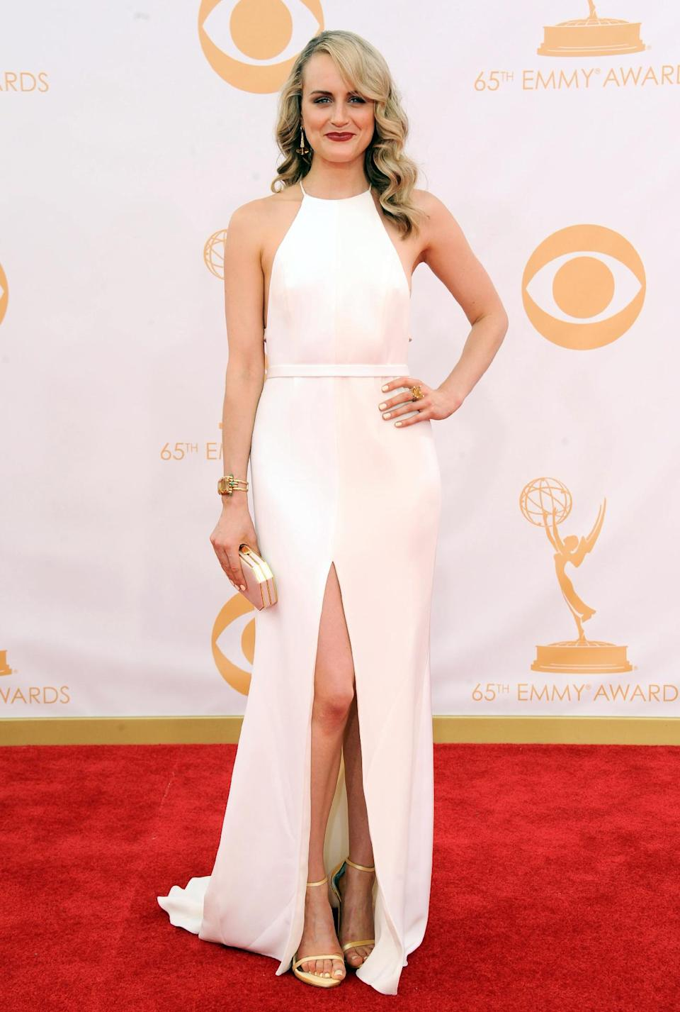 Taylor Schilling arrives at the 65th Primetime Emmy Awards at Nokia Theatre on Sunday Sept. 22, 2013, in Los Angeles. (Photo by Jordan Strauss/Invision/AP)