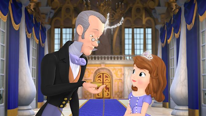 "This image released by Disney Junior shows characters, Baileywick, voiced by Tim Gunn, left, and Princess Sofia, voiced by Ariel Winter in a scene from the TV film, ""Sofia the First: One Upon A Princess,"" which debuted in November 2012. Gunn will also portray royal steward Baileywick in the TV series, ""Sofia the First,"" debuting Jan. 11. Gunn's character helps Sofia adapt to royal life after her mother marries a king. (AP Photo/Disney Junior)"