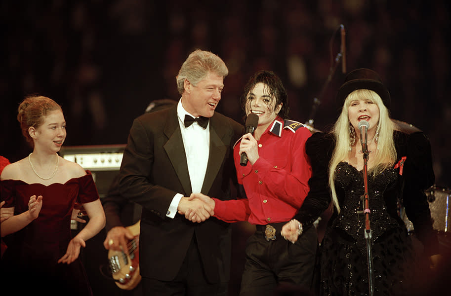 Performing with Michael Jackson at the Clinton Inauguration in 1993