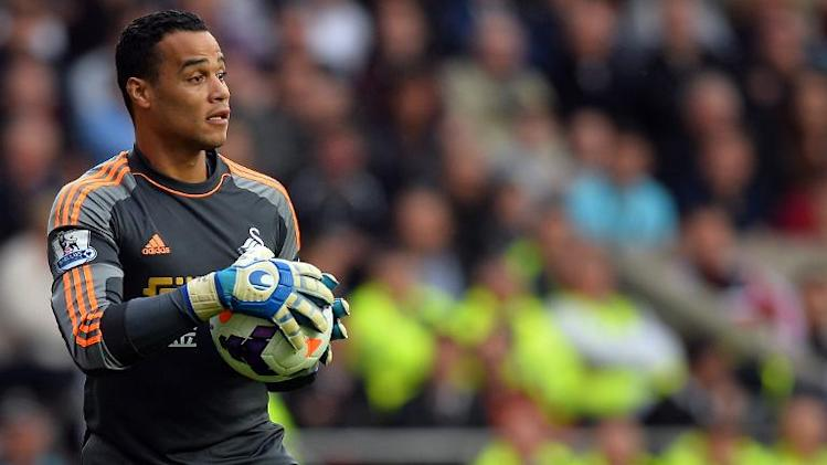Swansea goalkeeper Michel Vorm pictured during his side's English Premier League match against Arsenal at The Liberty Stadium in Swansea, south Wales on September 28, 2013