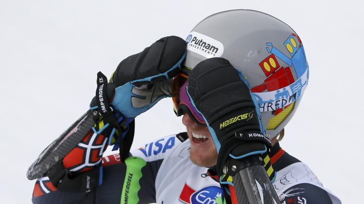 Ligety of the U.S. during the first run of the men's giant slalom at the FIS Alpine Skiing World Cup Finals in Lenzerheide