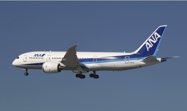 File photo of an ANA Boeing 787 Dreamliner flying over Boeing Commercial Airplanes manufacturing facilities at during a certification event at Paine Field, Everett, Washington