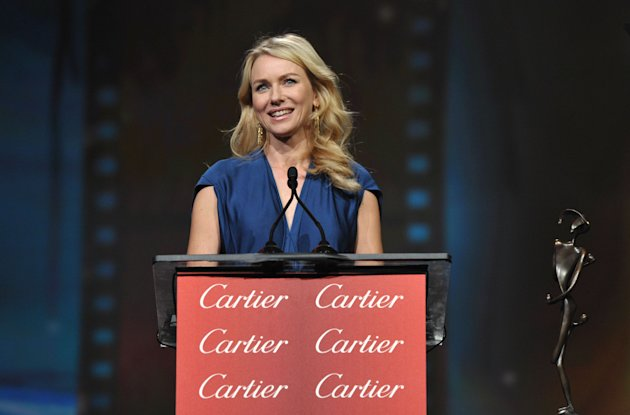 Naomi Watts appears on stage at the 24th Annual Palm Springs International Film Festival Awards Gala on Saturday, Jan. 5, 2013 in Palm Springs, Calif. The gala honors individuals in the film industry with awards for acting, directing, achievement in film scoring and lifetime achievement. (Photo by John Shearer/Invision/AP Images)