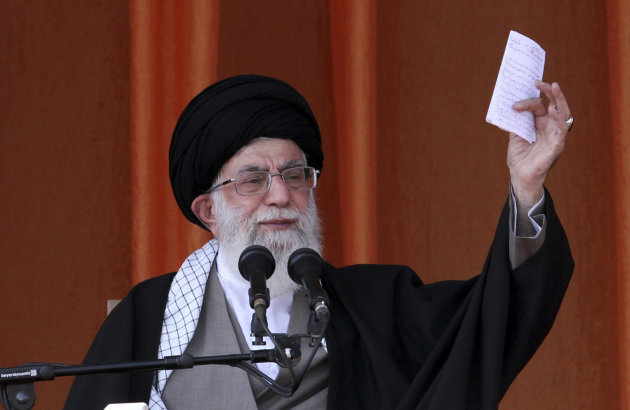 "In this photo released by an official website of the Iranian supreme leader's office, Iranian supreme leader Ayatollah Ali Khamenei, speaks at a public gathering on his tour to the northeastern city of Bojnourd, Iran, Wednesday, Oct. 10, 2012. Iran's top leader said Wednesday that European countries are ""foolish"" to support sanctions against Tehran, telling them they are sacrificing themselves for the sake of the United States. (AP Photo/Office of the Supreme Leader)"