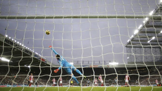 Sunderland's Costel Pantilimon saves a shot on goal during their English Premier League soccer match against Newcastle at St James' Park in Newcastle
