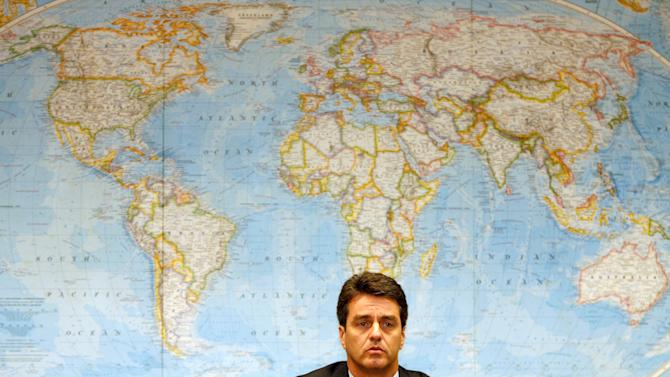 FILE - In this July 26, 2006 file photo, Roberto Azevedo, director of the Economical Department of Itamaraty, speaks during a news conference at the Itamaraty Palace, in Brasilia, Brazil. Azevedo has been chosen as the director-general of World Trade Organization, said WTO diplomats, Tuesday, May 7, 2013. (AP Photo/Eraldo Peres, File)