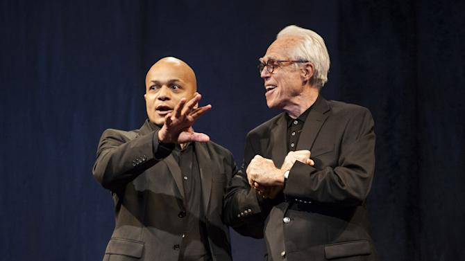 """This theater publicity image released by Boneau/Bryan-Brown shows Omar Sangare, left, and John Guare in """"3 Kinds of Exile,"""" by John Guare, currently performing off-Broadway at the  Atlantic Theater Company in New York.  (AP Photo/Boneau/Bryan-Brown, Kevin Thomas Garcia)"""