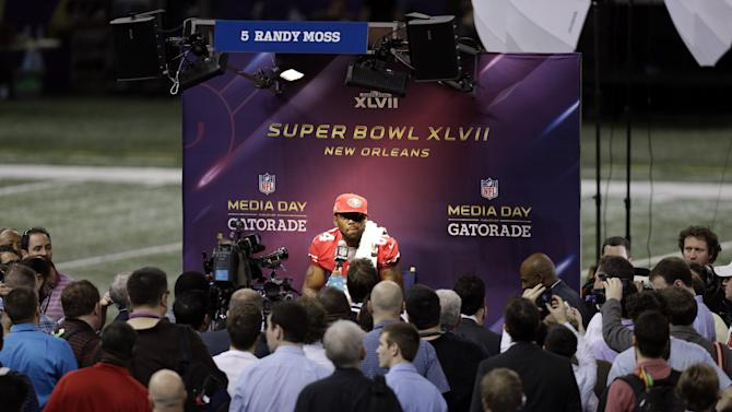 San Francisco 49ers wide receiver Randy Moss speaks during media day for the NFL Super Bowl XLVII football game Tuesday, Jan. 29, 2013, in New Orleans. (AP Photo/Gerald Herbert)