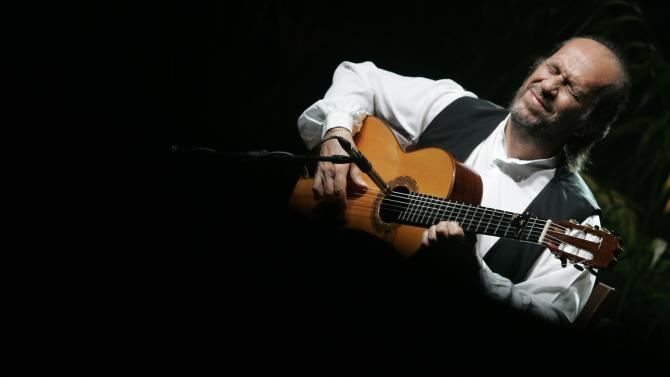 """File photo of Spanish guitarist de Lucia performing on stage during a concert as a part of his """"Cositas buenas"""" tour in Palma de Mallorca"""