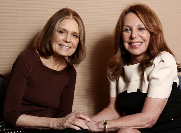 "In this Tuesday, Jan. 15, 2013 photo, Gloria Steinem, left, and Marlo Thomas, from the program ""Makers: Women Who Make America,"" pose together for a portrait during the PBS Winter TCA Tour at the Langham Huntington Hotel, in Pasadena, Calif. Actors and actresses compete separately at awards shows, a tradition some in the industry consider vital for women but others question. Steinem and Thomas weighed in on the issue during a TCA press tour interview. (Photo by Matt Sayles/Invision/AP)"