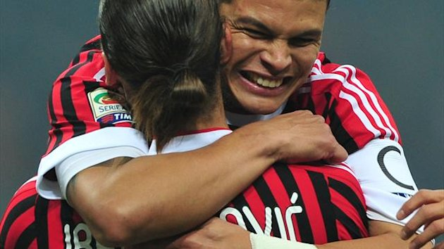 FOOTBALL 2012 Milan - Ibrahimovic et Thiago Silva