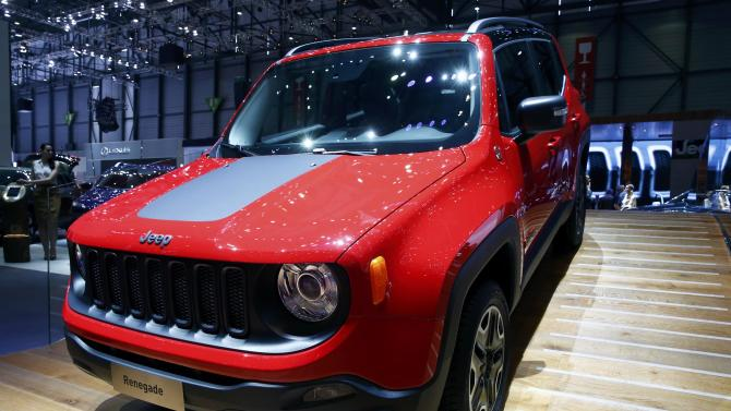The new Jeep Renegade is seen during the first press day ahead of the 85th International Motor Show in Geneva