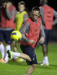French forward Franck Ribery controls the ball during a training session at Clairefontaine training center, in Clairefontaine, west of Paris, Wednesday Nov. 9, 2011. France will play U.S. Friday in an international friendly soccer match. (AP Photo/Thibault Camus)