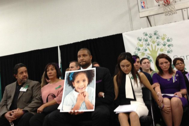 Parents of Sandy Hook shooting victims attend a press conference in