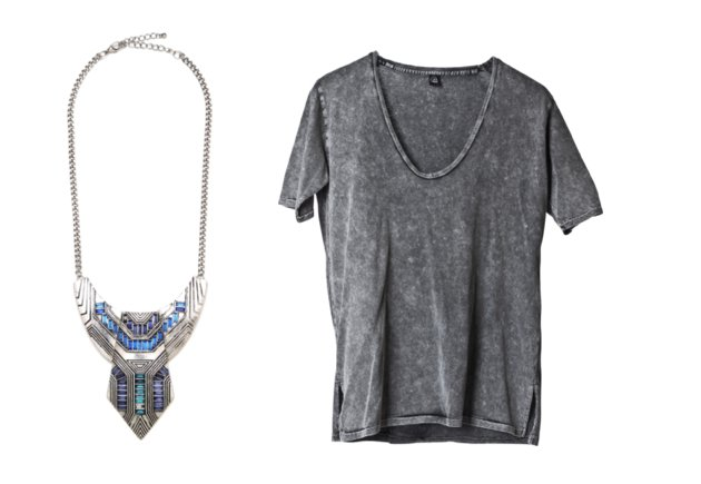 A statement necklace plus a basic tee equals instant glam. This cool, blue-toned geometric one from Bauble Bar is tops with this simple scoopneck grey tee from Cheap Monday.