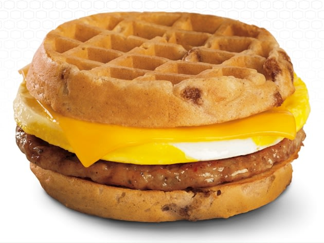 sandwich limited sandwich replaces traditional bread waffles sweetened maple syrup