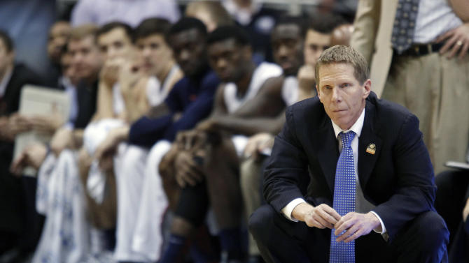 Gonzaga head coach Mark Few looks down court late in their third-round game Wichita State in the NCAA college basketball tournament in Salt Lake City Saturday, March 23, 2013. Wichita State defeated Gonzaga 76-70. (AP Photo/George Frey)