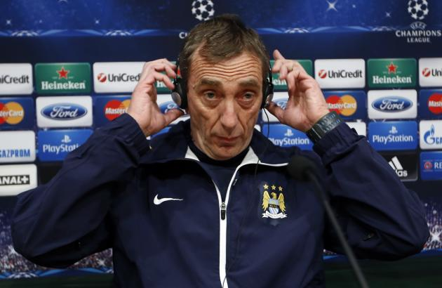 Manchester City's assistant manager Cousillas attends a news conference at Camp Nou stadium in Barcelona