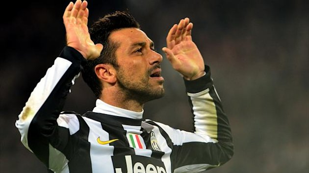 Fabio Quagliarella celebrates his goal for Juventus against Chelsea (Reuters)