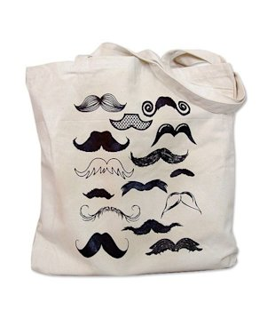 Mustache printed canvas