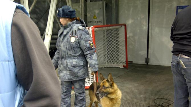 Bomb sniffing dogs are seen frequently throughout the day at the rink. This dog   officer made the rounds during Team USA's morning skate. (Sunaya Sapurji)
