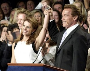 Arnold Schwarzenegger and wife Maria Shriver celebrate victory in the recall election (Photo: Chris Weeks/FilmMagic/Getty Images)