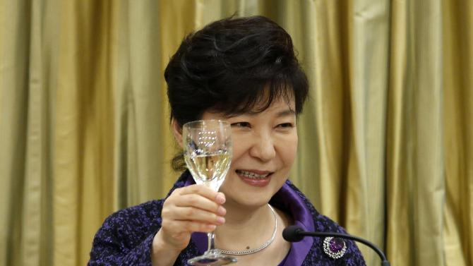South Korea's President Park toasts during a state dinner at Rideau Hall in Ottawa