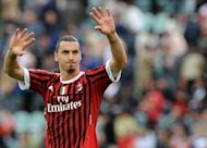 AC Milan's Zlatan Ibrahimovic waves after the end of the Serie A football match AC Siena vs AC Milan at Montepaschi Arena stadium in Siena. Milan won 4-1