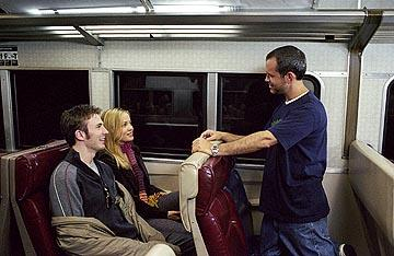 Chris Evans , Erika Christensen and director Brian Robbins on the set of Paramount's The Perfect Score