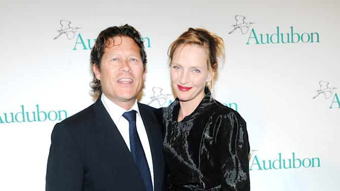 IMAGE DISTRIBUTED FOR THE NATIONAL AUDUBON SOCIETY - Uma Thurman and Arki Busson attend The National Audubon Society's first gala to jointly award the Audubon Medal and the inaugural Dan W. Lufkin Prize for Environmental Leadership, Thursday, Jan. 17, 2013, in New York.  (Photo by Diane Bondareff/Invision for The National Audubon Society/AP Images)