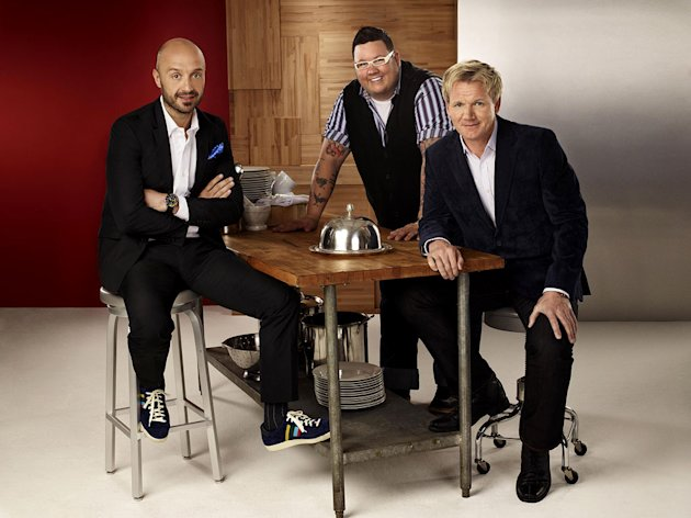 "Chef Gordon Ramsay (R), Restaurateur and wine maker Joe Bastianich (L) and Chef Graham Elliot (C) return as judges for a second season of ""Masterchef."""