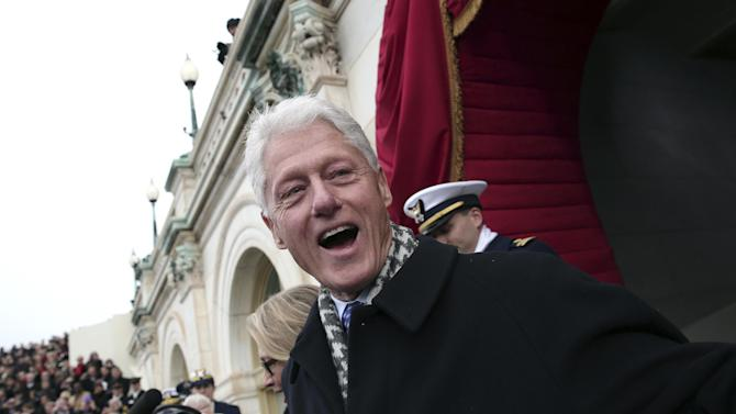 Former President Bill Clinton arrives on the West Front of the Capitol in Washington, Monday, Jan. 21, 2013, for the Presidential Barack Obama's ceremonial swearing-in ceremony during the 57th Presidential Inauguration.  (AP Photo/Win McNamee, Pool)