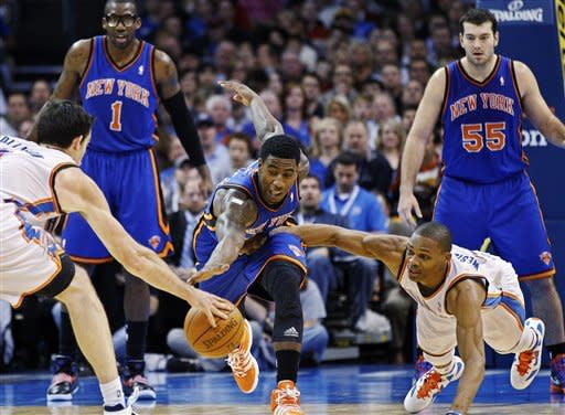 Thunder rout Carmelo-less Knicks, 104-92