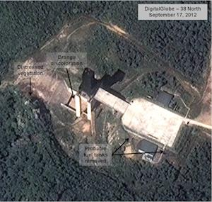 This Sept. 17, 2012 satellite image provided by DigitalGlobe and annotated by the U.S.-Korea Institute at Johns Hopkins School of Advanced International Studies, 38 North, shows a facility in Sohae, North Korea where analysts believe rocket engines have been tested in a sign North Korea continues to develop its long-range ballistic missiles. The analysis provided to The Associated Press is based on satellite images taken as recently as late September of the Sohae site on the secretive country's northwest coast. In April, the North conducted a failed attempt to launch a rocket from there carrying a satellite into space in defiance of a U.N. ban. The website of the U.S.-Korea Institute at SAIS said Monday Nov. 12, 2012 that it remains unclear whether the North is preparing a rocket launch but predicted it may embark on new rocket and nuclear tests in the first half of 2013. (AP Photo/DigitalGlobe/ U.S.-Korea Institute at SAIS)