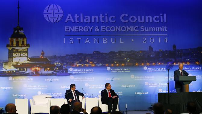 U.S. Vice President Biden makes a speech during an Atlantic Council summit in Istanbul