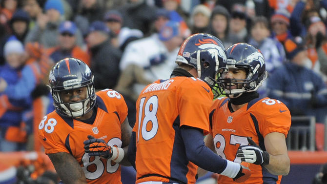 Denver Broncos wide receiver Eric Decker (87) is congratulated by Denver Broncos quarterback Peyton Manning (18) and wide receiver Demaryius Thomas (88) after catching a pass for a touchdown against the Kansas City Chiefs in the second quarter of an NFL football game, Sunday, Dec. 30, 2012, in Denver. (AP Photo/Jack Dempsey)
