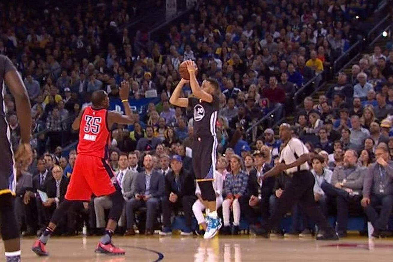 Stephen Curry nailing a 3-pointer over Kevin Durant in slo-mo is basketball poetry