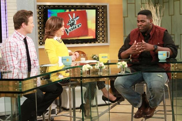 Billy Bush and Kit Hoover chat with 'The Voice' contestant Trevin Hunte on Access Hollywood Live, December 5, 2012 -- Access Hollywood