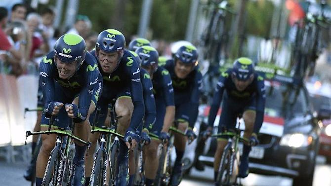 "Spanish team Movistar crosses the finish line of the 1st stage of the 69th edition of ""La Vuelta"" Tour of Spain in Jerez de la Frontera on August 23, 2014"