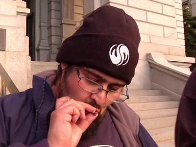 Raw: Smoking Marijuana on Colo. Capitol Steps