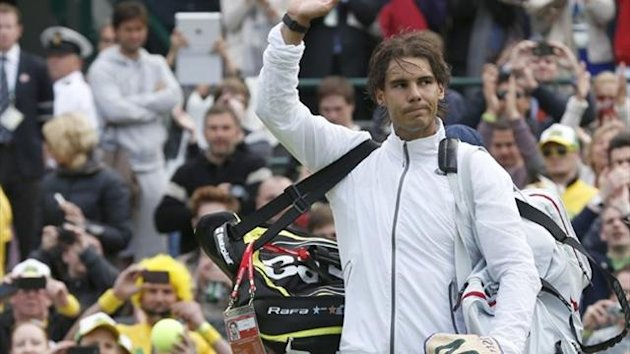 Rafael Nadal after his loss to Steve Darcis at Wimbledon (Reuters)