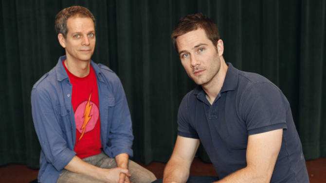 """Actors Patrick Breen, left, who plays Ned, and Luke MacFarlane, from the tv show """"Brothers & Sisters,"""" who plays Ned's partner, Felix, pose for a photograph at Arena Stage in Washington, on Tuesday, June 5, 2012. The actor's are featured in Larry Kramer's historic play, """"The Normal Heart,"""" which won the Tony Award in 2011 for best play revival, at Arena Stage. (AP Photo/Jacquelyn Martin)"""