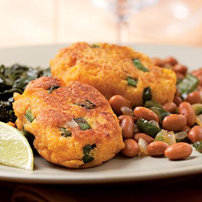 Use Leftover Sweet Potatoes in: Sweet Potato Fritters with Smoky Pinto Beans