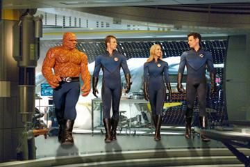 Michael Chiklis as Ben Grimm, Chris Evans as Johnny Storm, Jessica Alba as Sue Storm and Ioan Gruffudd as Reed Richards in 20th Century Fox's Fantastic Four: Rise of the Silver Surfer