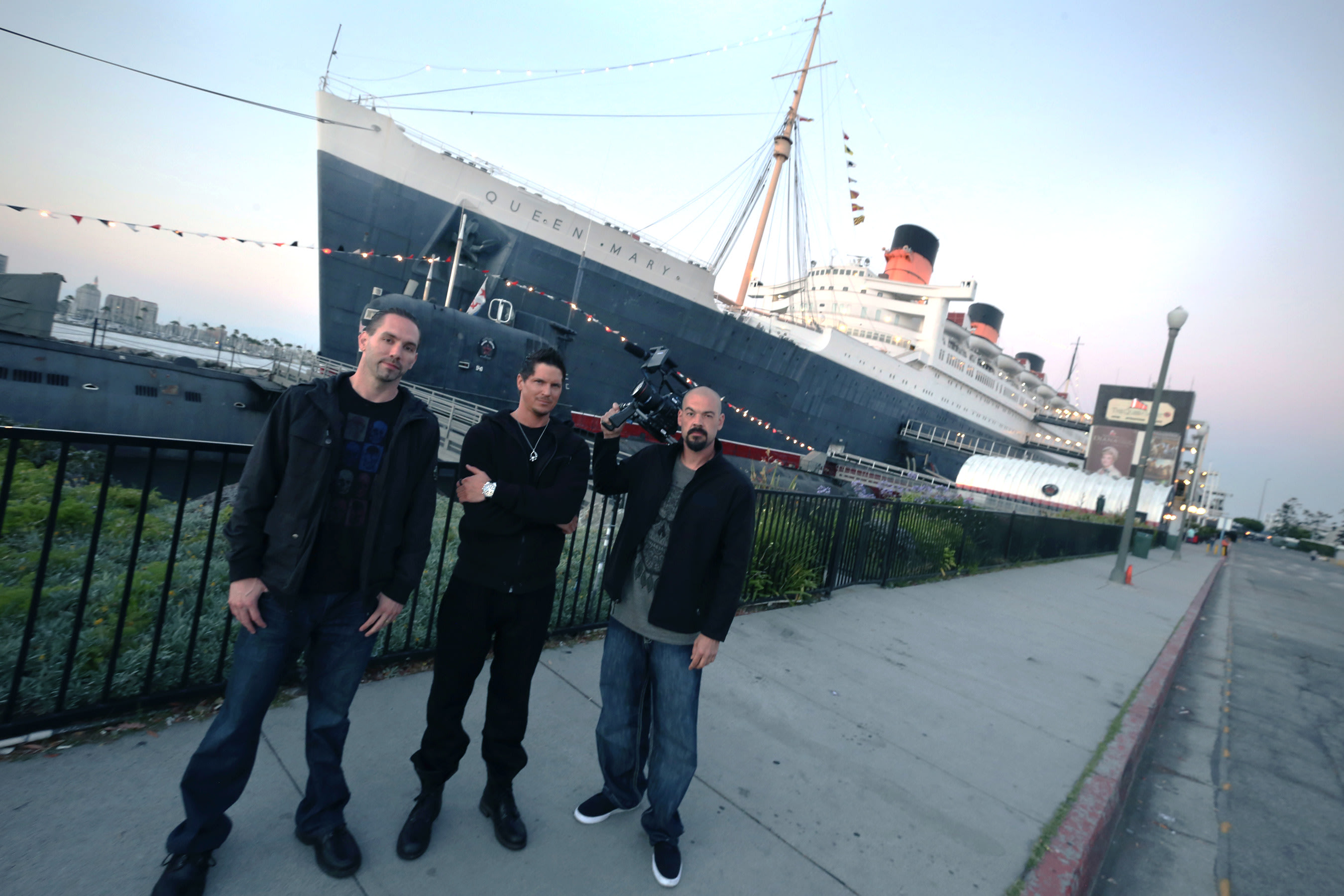 Ghost Adventures: Nick Groff, Zak Bagans and Aaron Goodwin outside RMS Queen Mary before lockdown