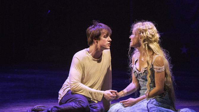 "This undated publicity photo provided by American Repertory Theater shows Matthew James Thomas, left, as Pippin and Rachel Bay Jones as Catherine in a production of ""Pippin,"" at the American Repertory Theater in Cambridge, Mass. (AP Photo/ American Repertory Theater, Michael J. Lutch)"