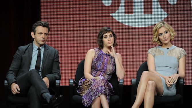 """From left, actors Michael Sheen, Lizzy Caplan and Caitlin Fitzgerald participate in the """"Masters of Sex"""" panel at the 2013 Showtime Summer TCA Press Tour at the Beverly Hilton Hotel on Tuesday, July 30, 2013 in Beverly Hills, Calif. (Photo by Frank Micelotta/Invision/AP)"""