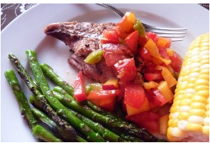 Grilled Fish with Tomato Peach Salsa