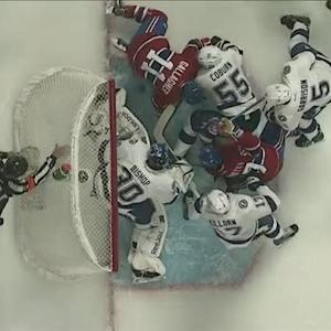 Bishop kicks rolling puck off goal line
